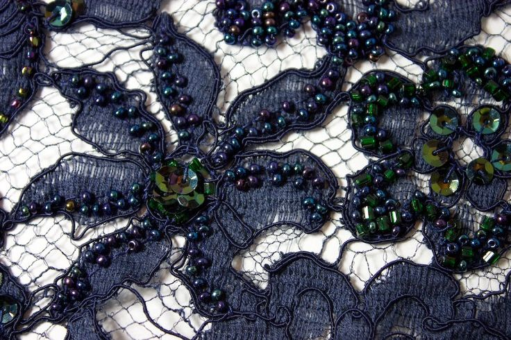 Tambour bead embroidered navy blue lace