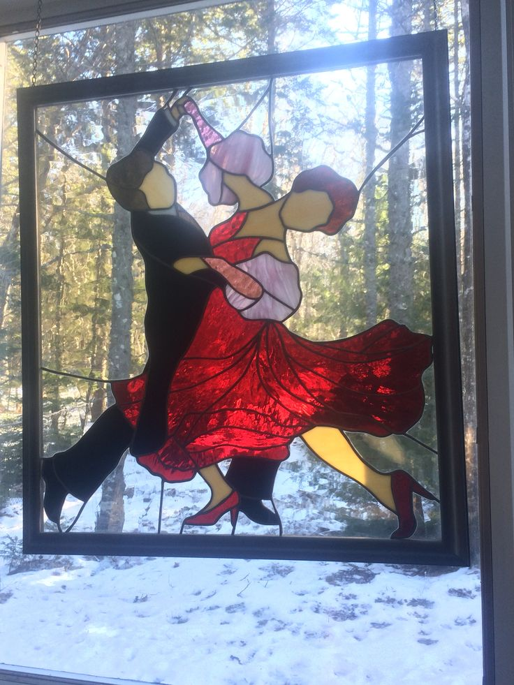 Framed Stained Glass Panel - Ballroom Dancers by CrystalCaveGlassArt on Etsy