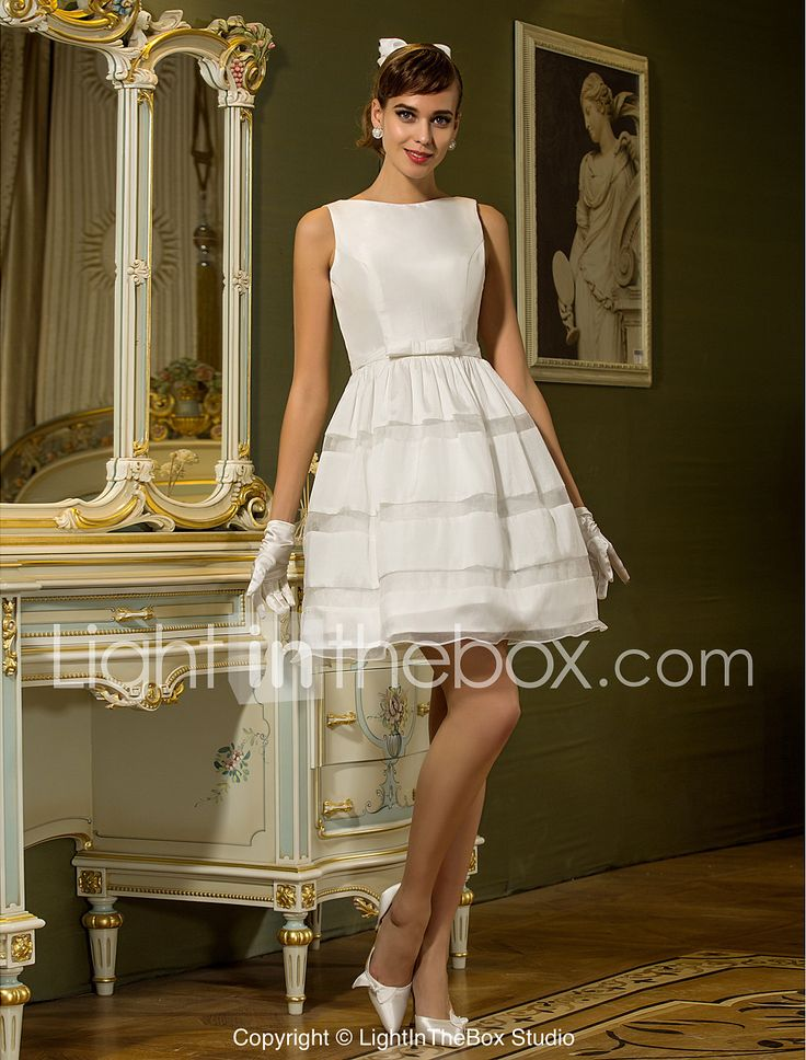 A-Line Bateau Neck Short / Mini Taffeta Wedding Dress with Sash / Ribbon Button by LAN TING BRIDE®