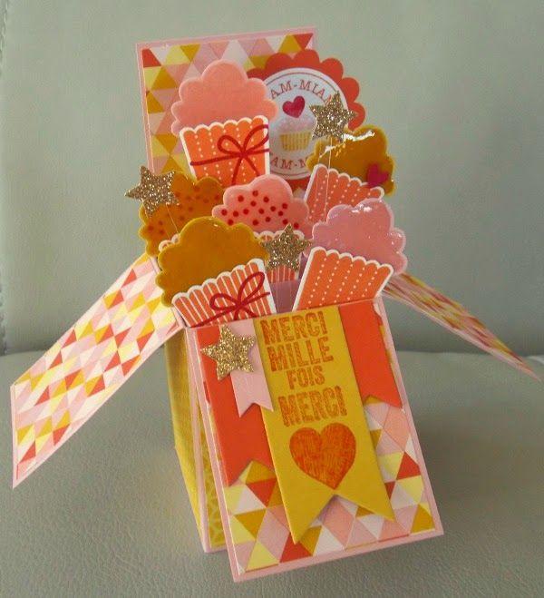Les créations d'Evelyne: Une carte boîte Cup cake