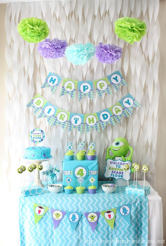 Cute & easy Monsters Inc birthday party. Includes link to party printables & lots of other ideas.