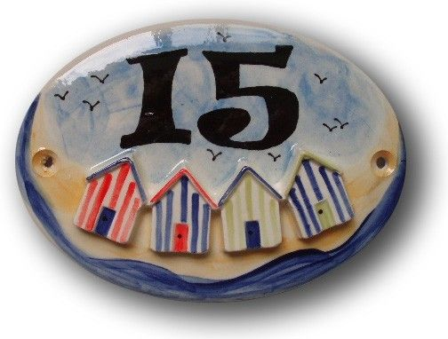 Handpainted ceramic house number plaque. Predrilled, ready to hang. Personalised with number or name of your choice. Please let me know the name/wording