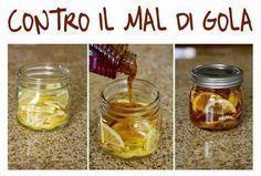 Non solo contro il mal di gola ... è una bomba vitaminica !!!!!! The, zenzero, limone e miele. Conservare in frigo e per berlo versare acqua bollente in una tazza con 1 cucchiaino di preparato.