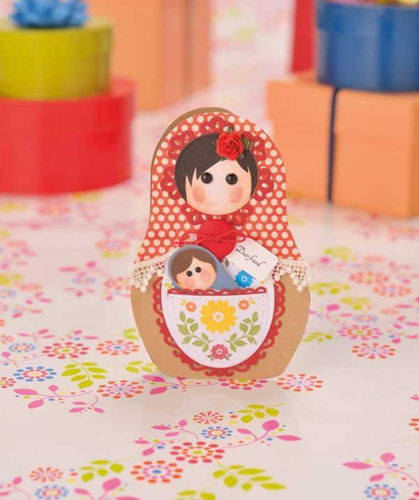 Free templates! Make your own cute Russian doll card.