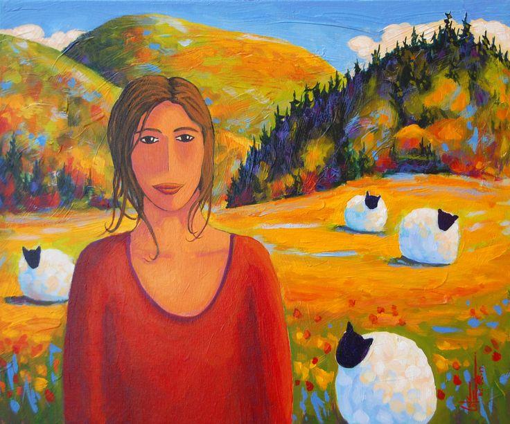 Bergère et colline d'automne acrylique sur toile   20 x 24po.  2013