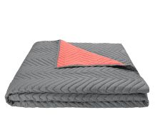 Charleston 100% Cotton Chevron Bedspread, Grey and Coral