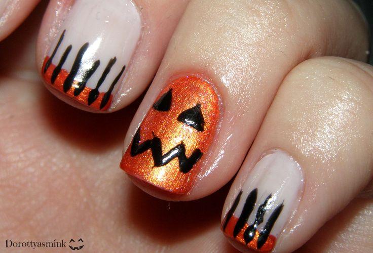 Halloween pumpkin face nails