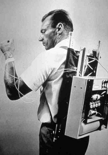 """The First Insulin Pump  The prototype of the first pump that delivered glucagon as well as insulin, backpack style, was in the early '60s.    Most of today's pumps are about the size of a 3/4"""" stack of business cards."""