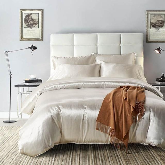 Buy Silk Bedding Sets Duvet Cover Flat Sheets Pillowcases Cushion Luxury Satin Bedding Sets King Full Queen Duvet Cover Sets Silk Duvet Cover Bed Linens Luxury