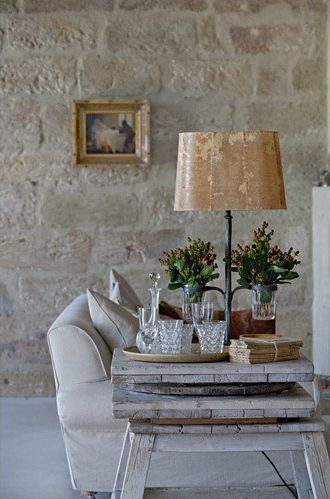'light and space in an old French bastide' from My French Country Home blog by Sharon Santoni  ::  (My fireplace: For this look,use cream colored grout, over-grout a bit, blending the stones with the grout.)