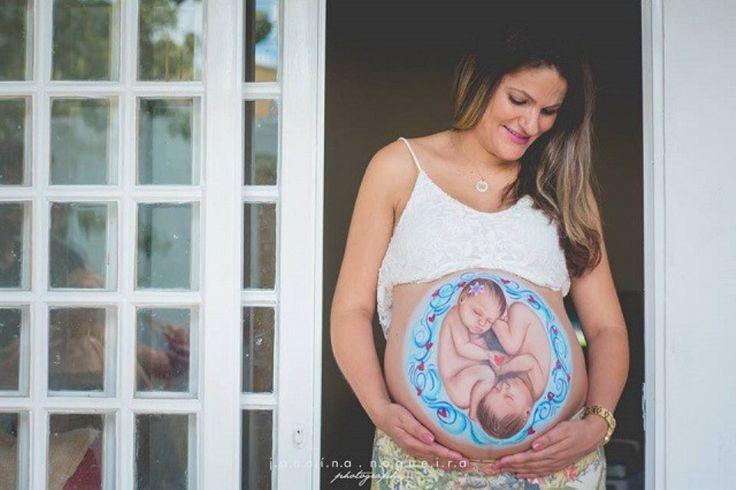 Ultrassom natural: Pintura que mostra a posição do bebê