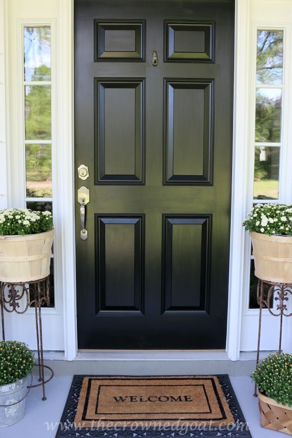 Non-Fade Front Door Paint with Modern Masters | Color: Elegant black | Project via The Crowned Goat