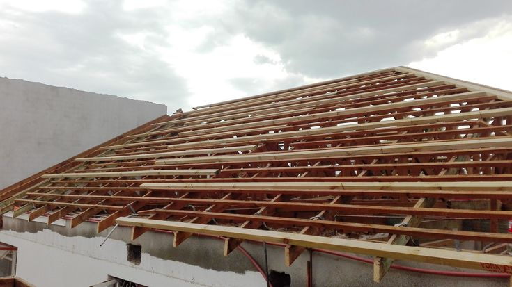 #Roof tiles have been stripped, #truss system exposed, #sisalation to be laid followed by roof sheets