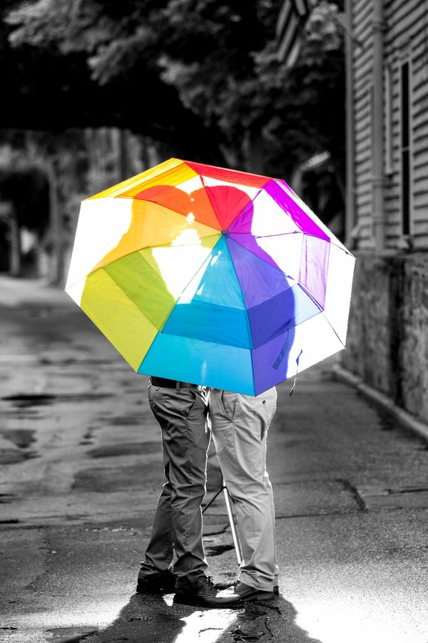 When it rains during your engagement photo shoot, find a rainbow! {Christy Whitehead Photography} | same-sex engagement | lgbt engagement | gay engagement | engagement photos