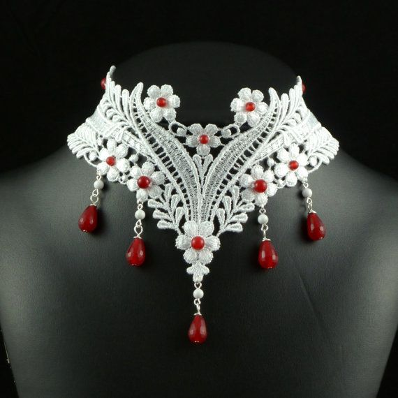 White Lace Choker Necklace with Red Rubies Gemstones by Arthlin, $67.00