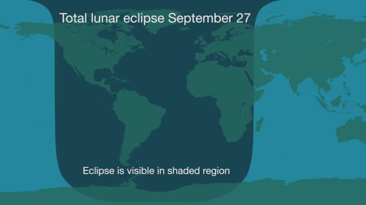 This graphic shows the areas of the Earth where viewers will see the lunar eclipse of Sept. 28, 2015, including much of North America, South America, Africa and Europe.<br />