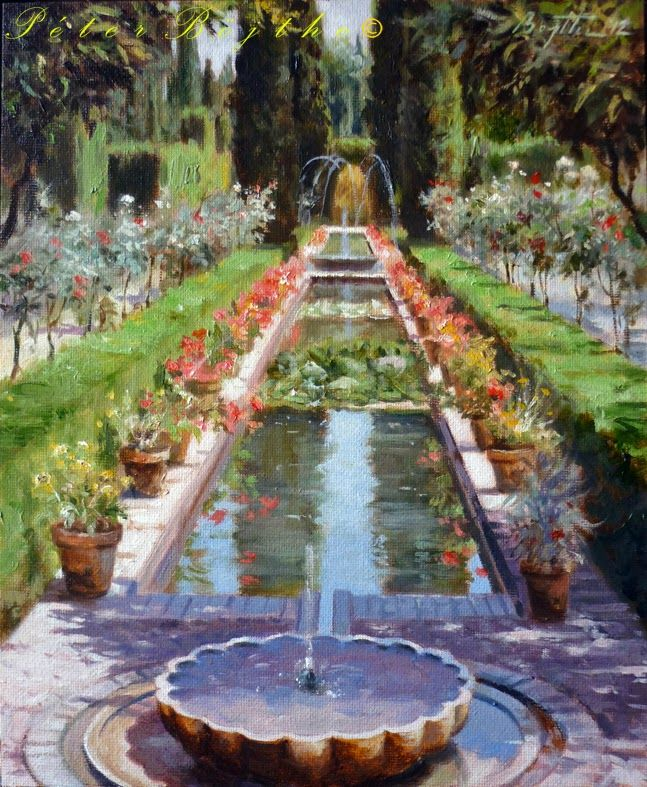 Título: Jardines del Generalife - Granada.  Técnica: Óleo sobre lienzo.  Tamaño: 30x25 cm.  Precio: Vendido.