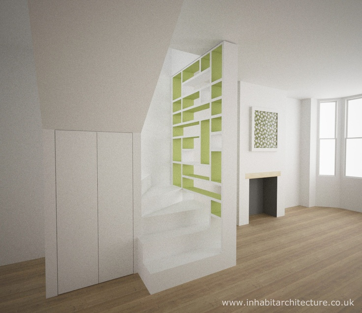 contemporary storage stair within character property. the shelving can be accessed from both sides to create a living wall. designed by inhabit architecture, see more at www.inhabitarchitecture.co.uk