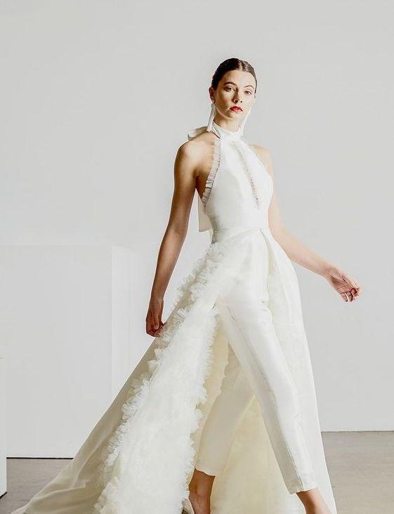 b13d0aa3a57 40+ Jumpsuit Wedding Dresses Ideas 1 – Fiveno