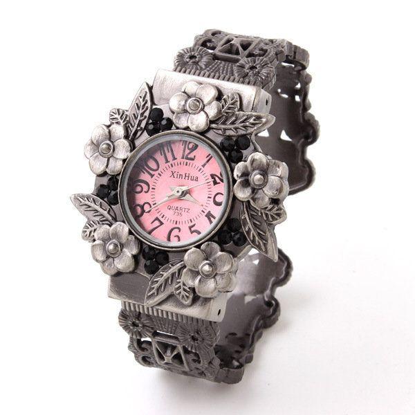 Xin Hua 735 Vintage Flowers Alloy Band Case Bracelet Watch