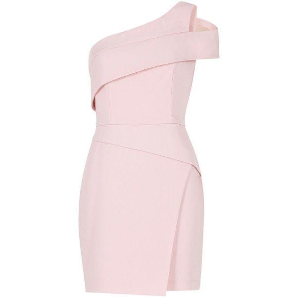BCBGMAXAZRIA Benett Cutout One-Shoulder Dress (2.210 NOK) ❤ liked on Polyvore featuring dresses, vestidos, one shoulder cocktail dress, cut-out shoulder dresses, wrap skirt, cut out shoulder dress and pink cutout dress