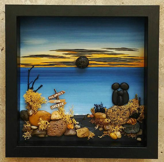 FREE SHIPPING This will be made to order: Family of Three on the beach watching the sunset (any number of people can be added and/or pets). Set on a hand painted background. Materials used are pebbles, rocks, shells, dried moss, desert plants/twigs. The 9x9 glass enclosed frame is
