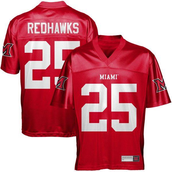 Miami University RedHawks #25 Fan Football Jersey - Red