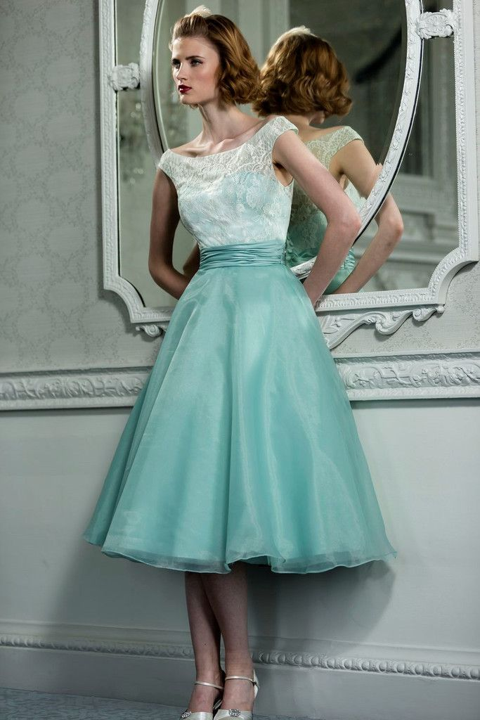 Retro Vintage Style Lace Organza Tea Dress