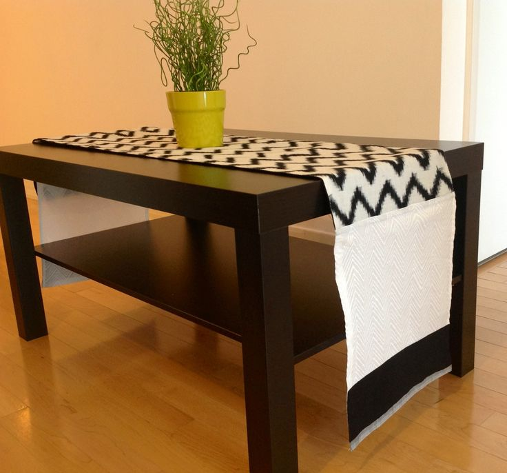 Chevron Table Runner In Black And White Cotton 13 X 72 Inches