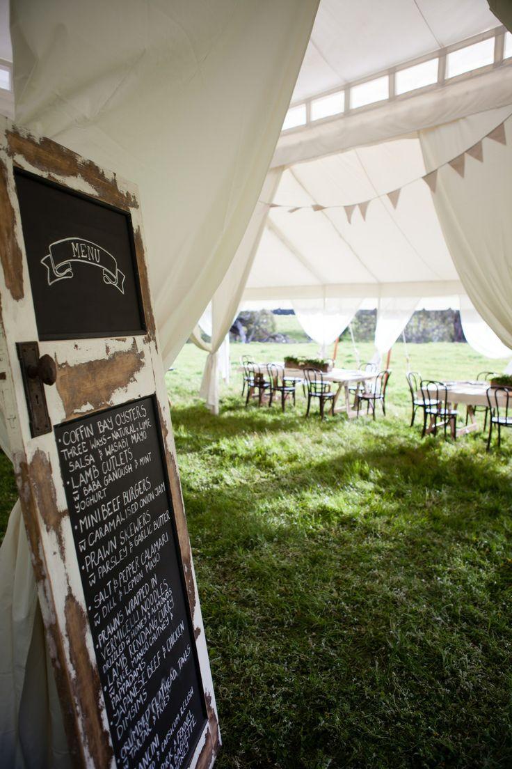 What a great way to display your wedding menu! Grand 11mx11m. www.tentluxuryhire.com.au