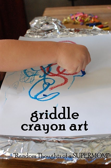 Rainy day activity: Griddle Crayons, Crafts Ideas, Melted Crayons Art, Kids Stuff, Kids Crafts, Random Thoughts, Cool Ideas, Rainy Day Activities, Crayon Art