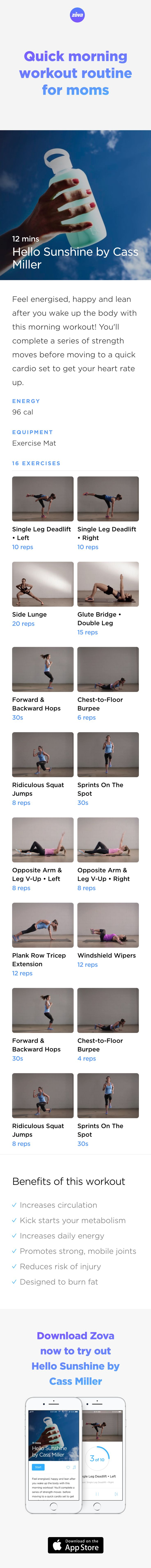 Start the day right with this super quick and effective workout. Using only bodyweight exercises, you'll strength and tone your muscles, while increasing blood flow to your whole body. So in just eight minutes you'll wake both your body and your mind up, ready for the day ahead! #weightloss #workout #fitness #HIIT #fullbody #sweat #bodyweight #calories #athome #mom