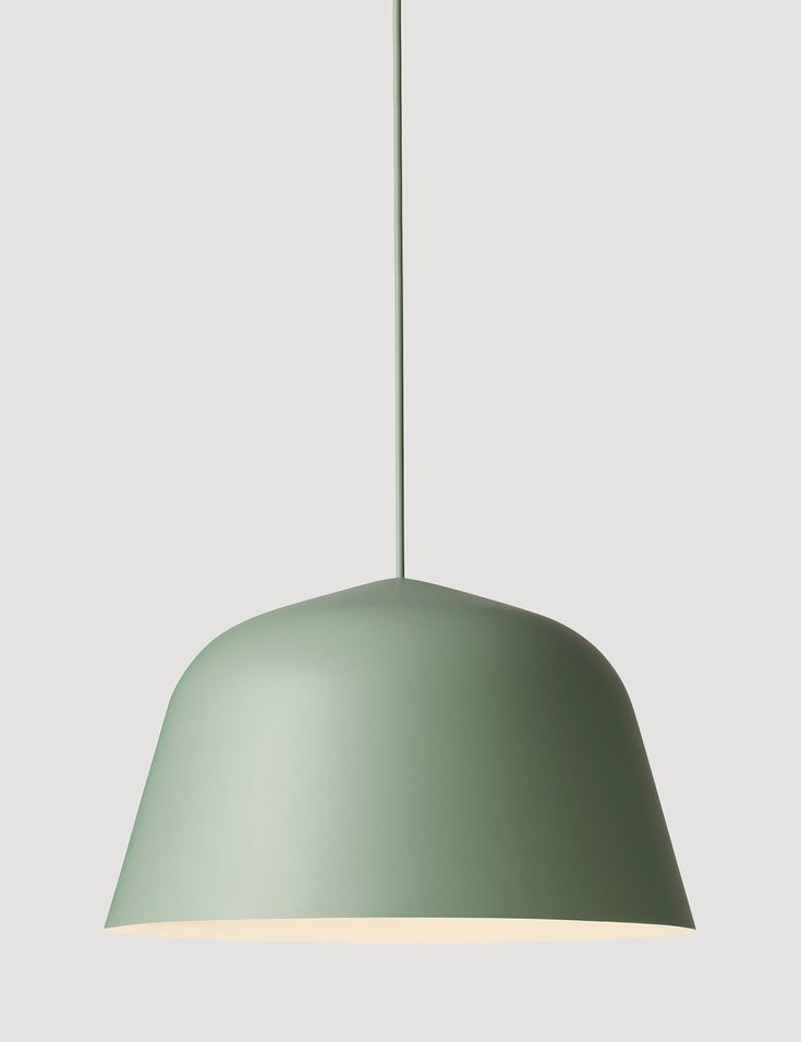 AMBIT is a timeless and versatile pendant with a strong character. The lamp shade is made from old brazier traditions, press spun by hand, polished and finally hand-painted. Designed by TAF architects Comes in both a 25cm and 40cm sizes Here in the color Dusty Green #muuto #muutodesign