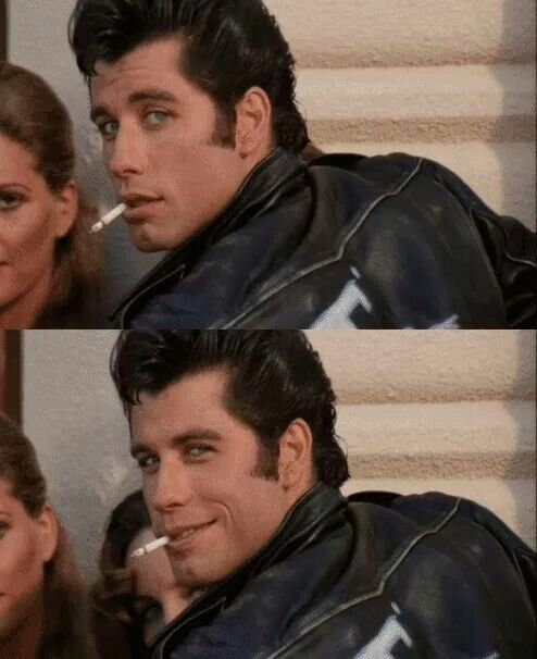 ❤ Danny Zuko, aka Grease's T-Bird played by John Travolta. #guiltypleasure #badboyobsessions