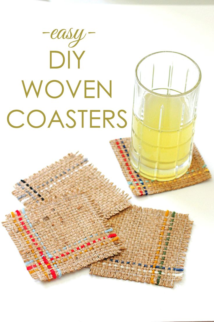 Make your own colorful woven coasters with this easy DIY! All you need is burlap, yarn scraps, and a little creativity.
