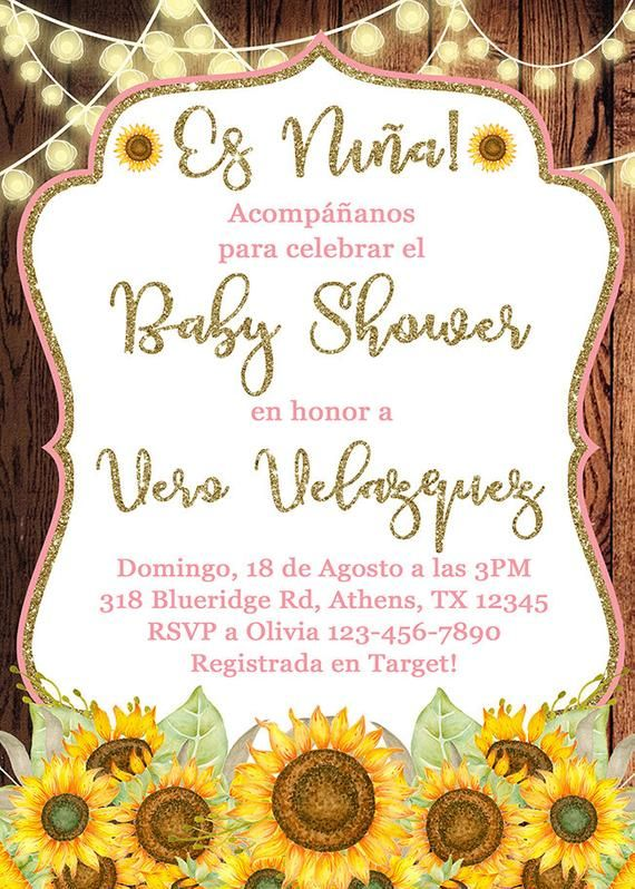 Baby Shower Invitations En Espanol : shower, invitations, espanol, Niña, Invitación, Shower, Español, Sunflowers, Invites, Girl,, Sunflower, Invitations,