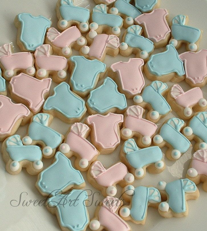 Baby Cookies   Baby Shower Cookies   Baby Announcement   Baby Strollers And  One Piece Outfit Cookies   3 Or 4 Dozen MINI Cookies