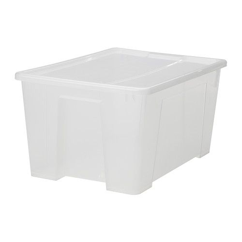 """IKEA - SAMLA, Box with lid, clear, 22 ½x15 ¼x11 """"/12 gallon, , The box is made of transparent plastic so you can quickly and easily find what you need.</t><t>The lid protects the contents and makes the box stackable."""