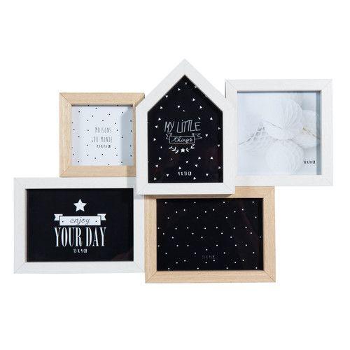 Cadre photo 5 vues en bois 25 x 36 cm SUSAN