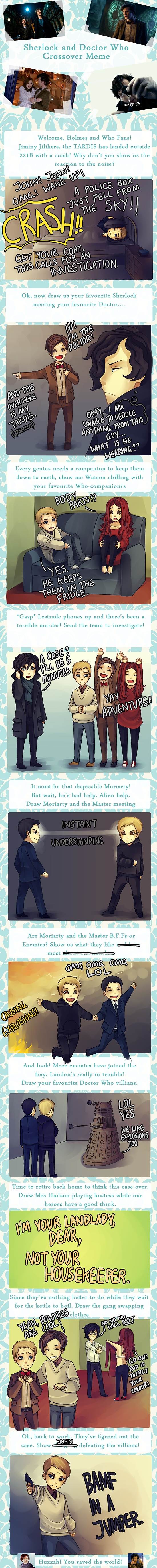 Sherlock+DW Meme by *y0do on deviantART    I love these art memes.... I wish I could draw cause these would be fun.
