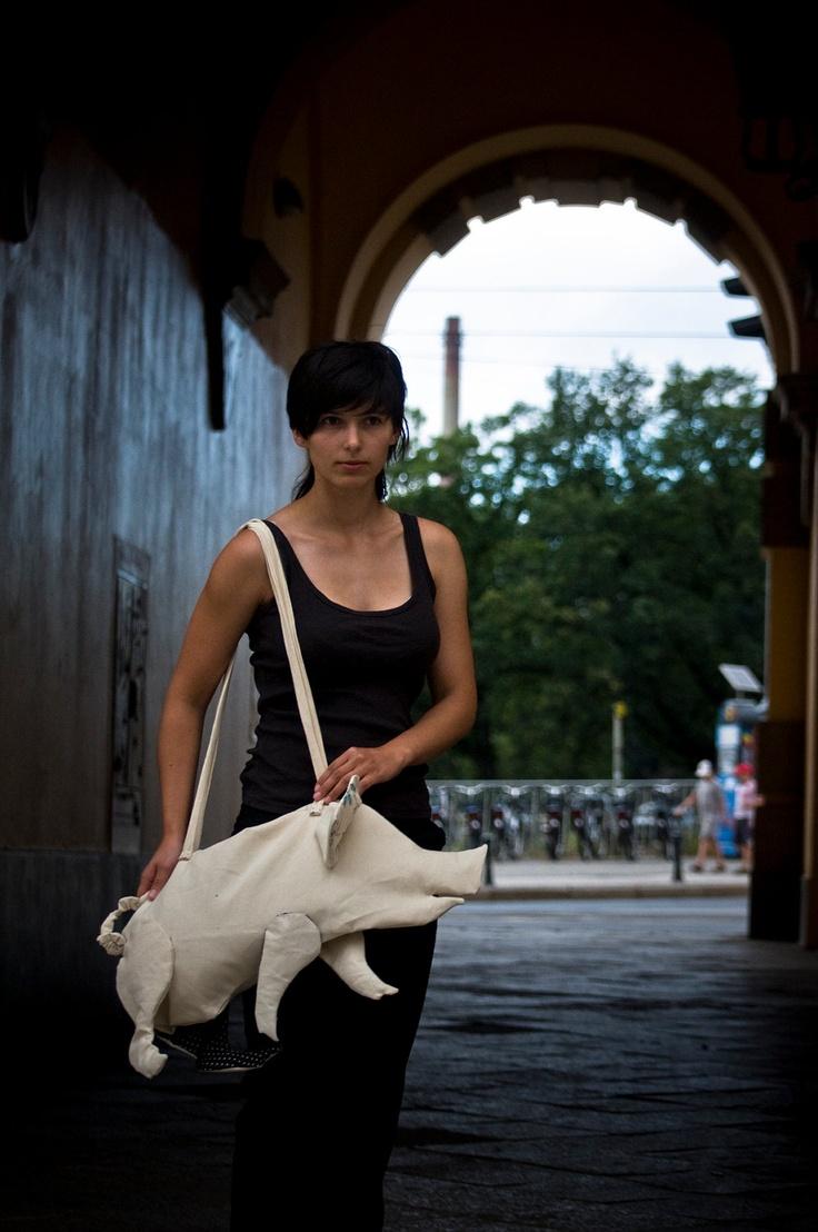 Pig Shaped  Bag. $75.00, via Etsy.