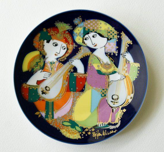 Bjorn Wiinblad Plate, Orientalische Nachtmusik Mandolinenspieler Motiv 2 by Rosenthal