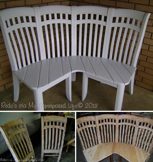 How to turn 4 old chairs into an adorable corner bench step by step DIY tutorial instructions, How to, how to do, diy instructions, crafts, do it yourself, diy website, art project ideas