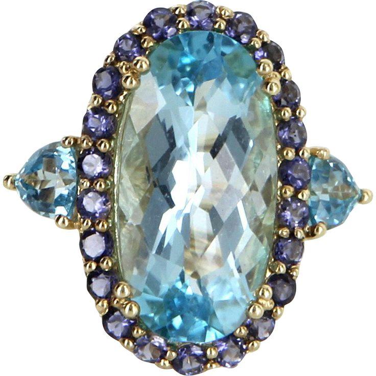 Blue Topaz Iolite Cocktail Ring Vintage 14 Karat Yellow Gold Estate Fine Jewelry
