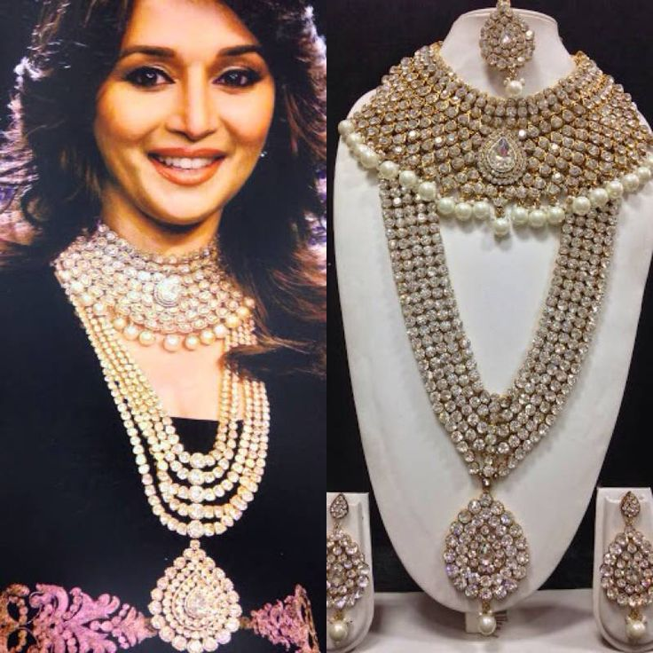 Madhuri dixit famous jewelry set in white with pearls