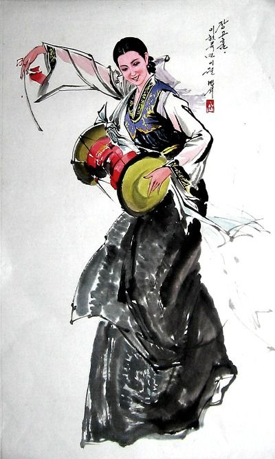 (North Korea) Korean traditional 장고 dance by An Myeong-seok (1960- ). Korean brush watercolor.