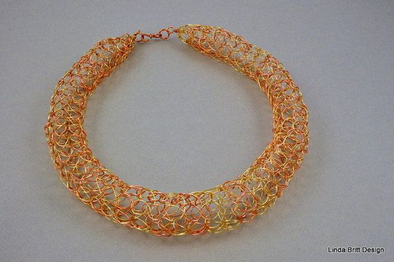 Copper and Gold Knitted Wire Tube Necklace by LindaBrittDesign, $48.00