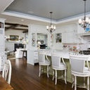Kitchen tray ceiling in grey-blue, two chandeliers.: Ideas, Traditional Kitchens, Ceilings Details, Trays Ceilings, Tray Ceilings, Ceilings Design, Rlh Studios, Paintings Wood, White Kitchens