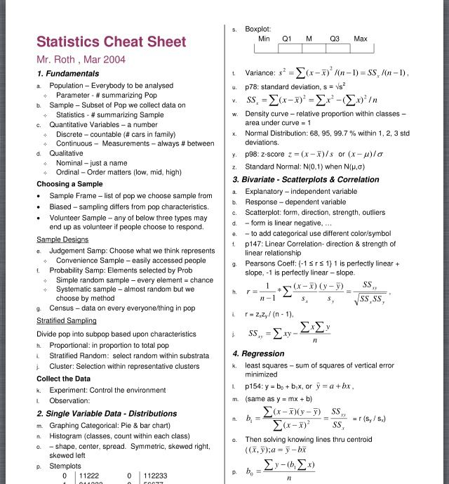 Statistics Cheat Sheet Roth