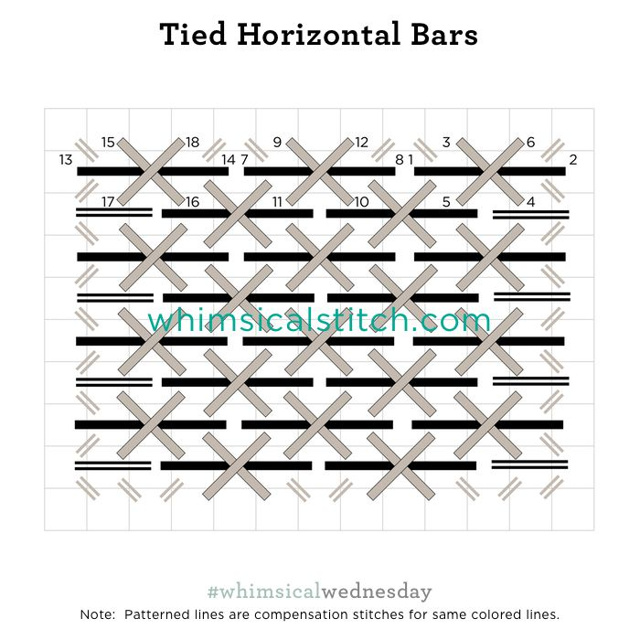 Tied Horizontal Bars from March 14, 2018 whimsicalstitch.com/whimsicalwednesdays blog post.